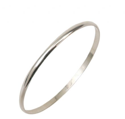 4MM D - Shaped Slave Silver Bangle - Teenage to Adult Sizes
